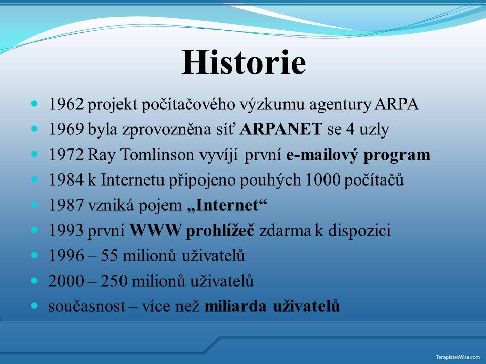 1962 projekt počítačového výzkumu agentury ARPA 1969 byla zprovozněna síť ARPANET se 4 uzly 1972 Ray Tomlinson vyvíjí první e-mailový program 1984 k I