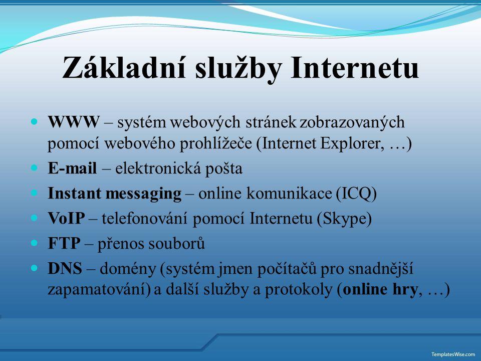 WWW – systém webových stránek zobrazovaných pomocí webového prohlížeče (Internet Explorer, …) E-mail – elektronická pošta Instant messaging – online k