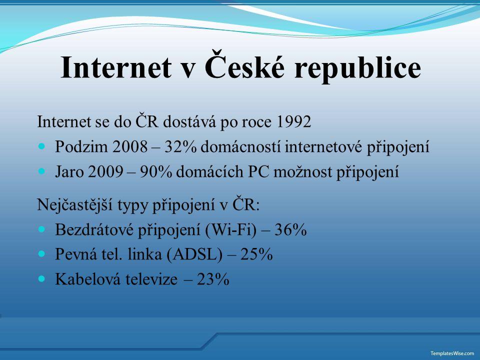 Internet v České republice Internet se do ČR dostává po roce 1992 Podzim 2008 – 32% domácností internetové připojení Jaro 2009 – 90% domácích PC možno