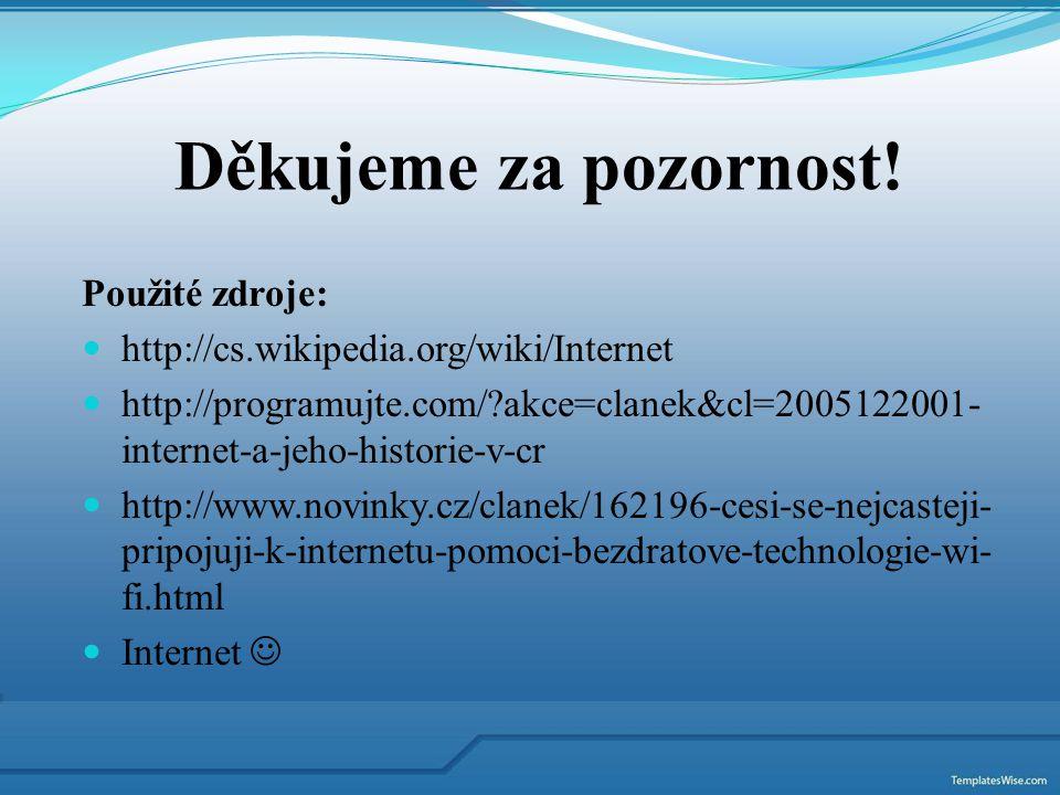 Použité zdroje: http://cs.wikipedia.org/wiki/Internet http://programujte.com/?akce=clanek&cl=2005122001- internet-a-jeho-historie-v-cr http://www.novi