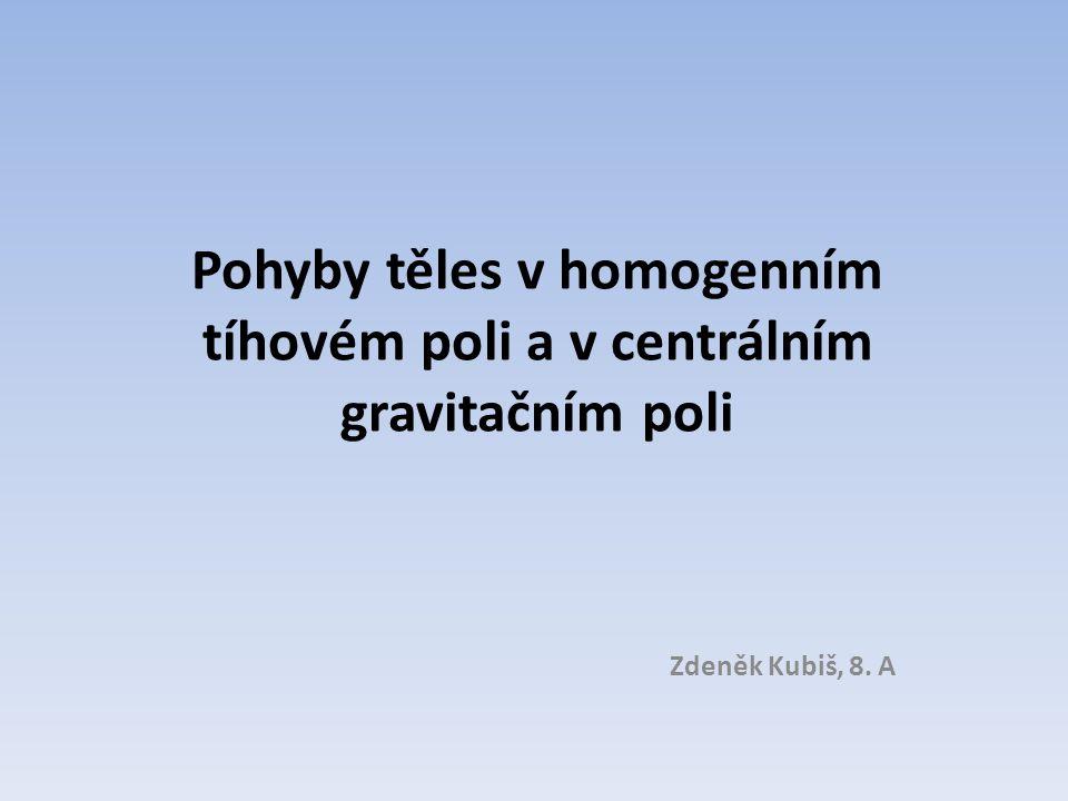 Pohyby těles v homogenním tíhovém poli a v centrálním gravitačním poli Zdeněk Kubiš, 8. A