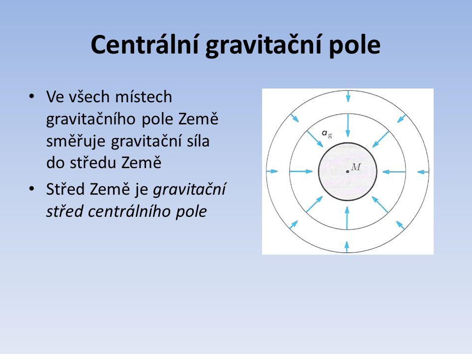 Centrální gravitační pole Ve všech místech gravitačního pole Země směřuje gravitační síla do středu Země Střed Země je gravitační střed centrálního po