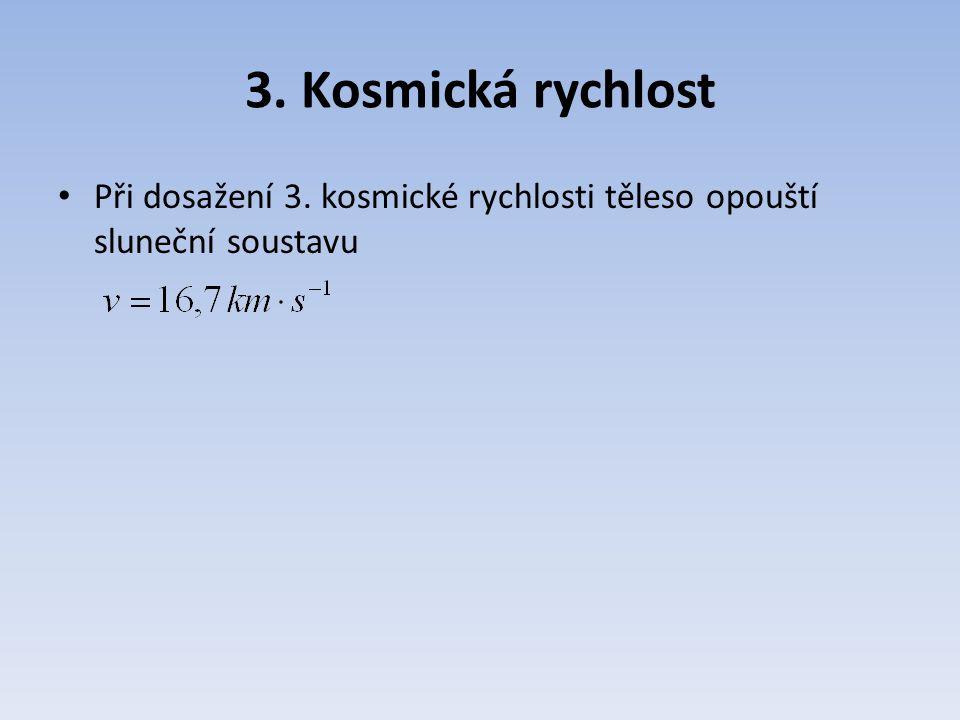 3. Kosmická rychlost Při dosažení 3. kosmické rychlosti těleso opouští sluneční soustavu