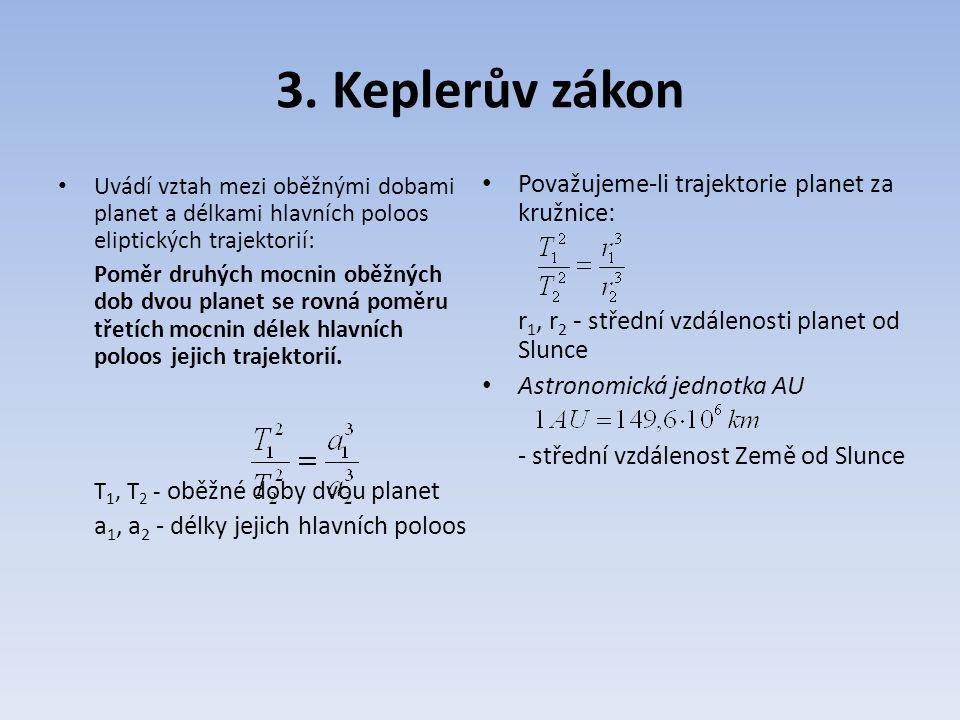 3. Keplerův zákon Uvádí vztah mezi oběžnými dobami planet a délkami hlavních poloos eliptických trajektorií: Poměr druhých mocnin oběžných dob dvou pl