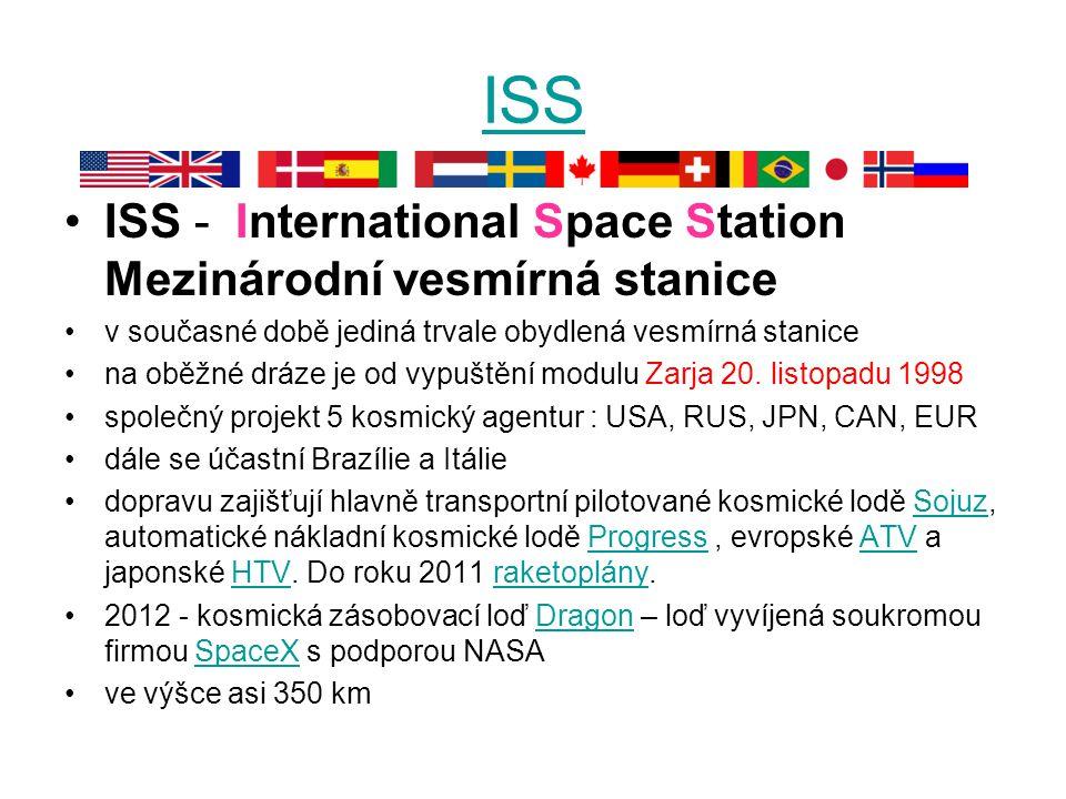ISS ISS - International Space Station Mezinárodní vesmírná stanice v současné době jediná trvale obydlená vesmírná stanice na oběžné dráze je od vypuštění modulu Zarja 20.