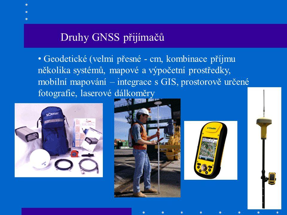 Druhy GNSS přijímačů Geodetické (velmi přesné - cm, kombinace příjmu několika systémů, mapové a výpočetní prostředky, mobilní mapování – integrace s G
