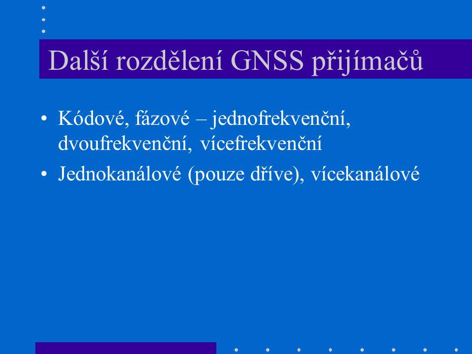 Další rozdělení GNSS přijímačů Kódové, fázové – jednofrekvenční, dvoufrekvenční, vícefrekvenční Jednokanálové (pouze dříve), vícekanálové