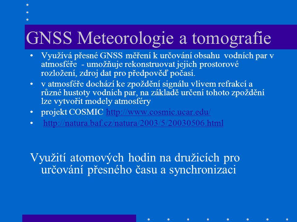 GNSS Meteorologie a tomografie Využívá přesné GNSS měření k určování obsahu vodních par v atmosféře - umožňuje rekonstruovat jejich prostorové rozlože