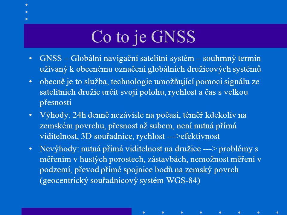 Co to je GNSS GNSS – Globální navigační satelitní systém – souhrnný termín užívaný k obecnému označení globálních družicových systémů obecně je to slu