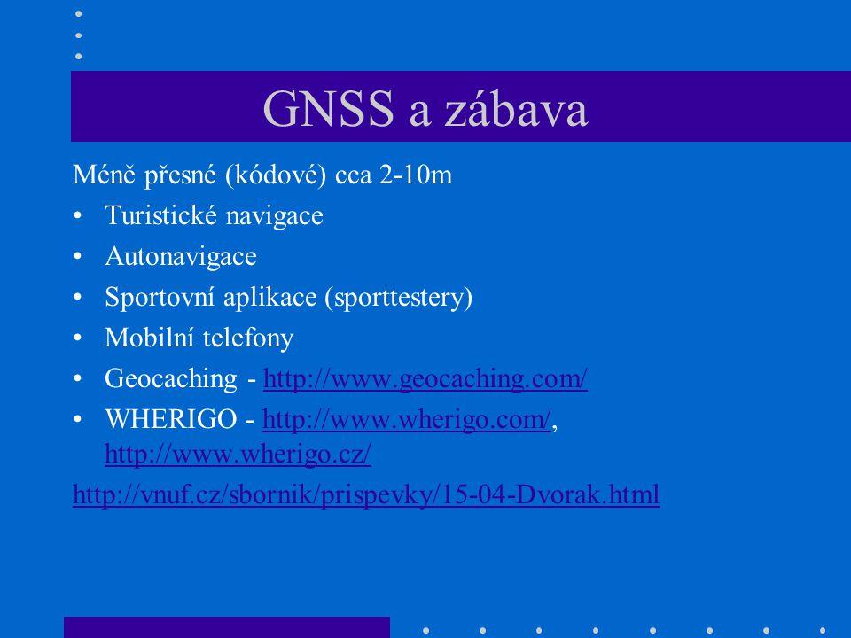 GNSS a zábava Méně přesné (kódové) cca 2-10m Turistické navigace Autonavigace Sportovní aplikace (sporttestery) Mobilní telefony Geocaching - http://w