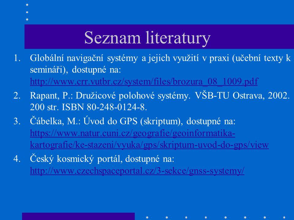 Seznam literatury 1.Globální navigační systémy a jejich využití v praxi (učební texty k semináři), dostupné na: http://www.crr.vutbr.cz/system/files/b