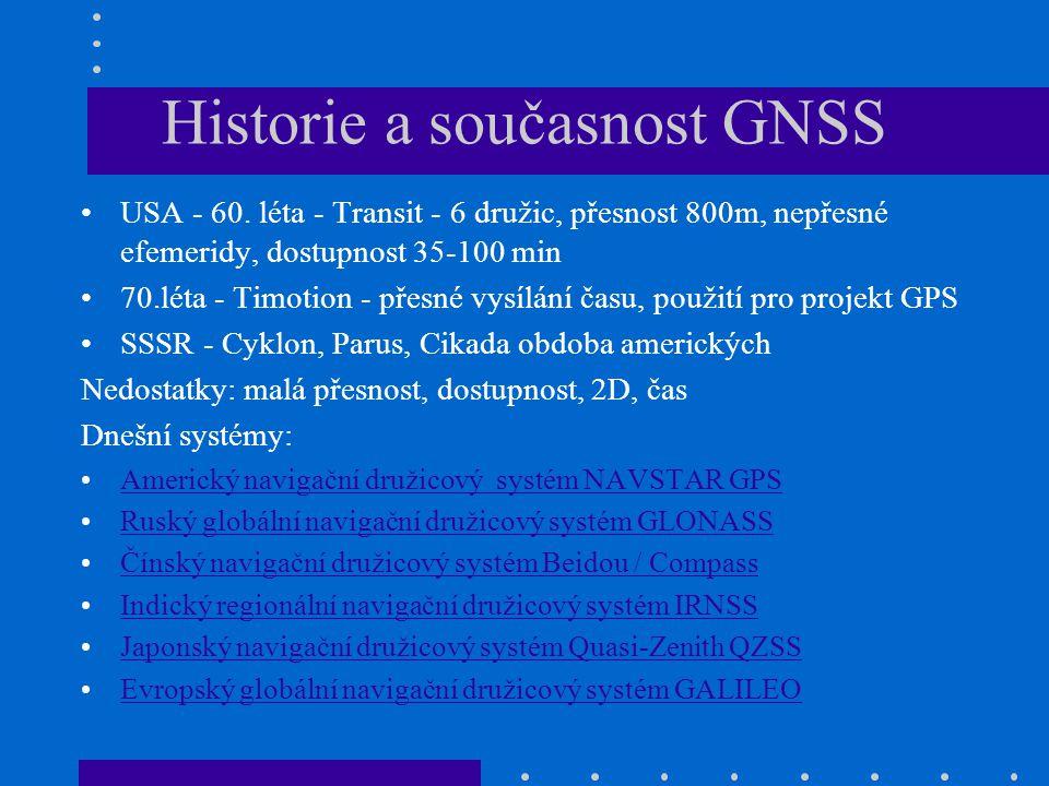 Historie a současnost GNSS USA - 60. léta - Transit - 6 družic, přesnost 800m, nepřesné efemeridy, dostupnost 35-100 min 70.léta - Timotion - přesné v