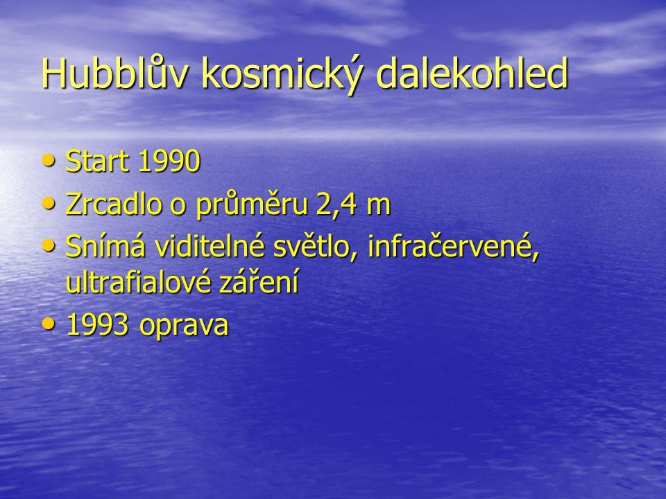 Hubblův kosmický dalekohled Start 1990 Start 1990 Zrcadlo o průměru 2,4 m Zrcadlo o průměru 2,4 m Snímá viditelné světlo, infračervené, ultrafialové z
