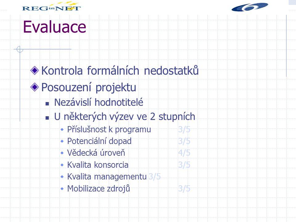 Evaluace Kontrola formálních nedostatků Posouzení projektu Nezávislí hodnotitelé U některých výzev ve 2 stupních  Příslušnost k programu 3/5  Potenciální dopad 3/5  Vědecká úroveň 4/5  Kvalita konsorcia 3/5  Kvalita managementu 3/5  Mobilizace zdrojů 3/5
