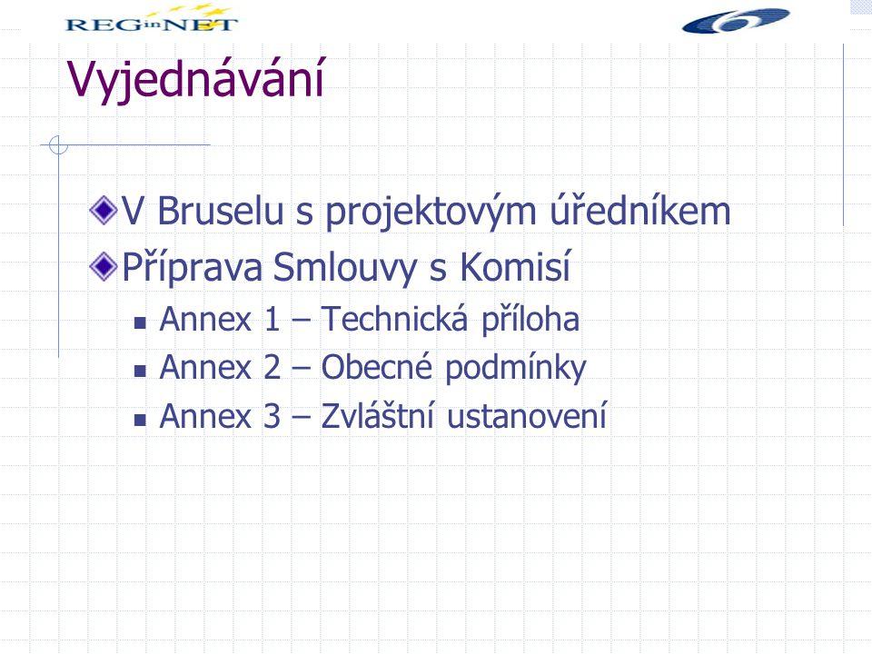 Vyjednávání V Bruselu s projektovým úředníkem Příprava Smlouvy s Komisí Annex 1 – Technická příloha Annex 2 – Obecné podmínky Annex 3 – Zvláštní ustanovení