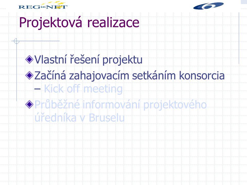 Projektová realizace Vlastní řešení projektu Začíná zahajovacím setkáním konsorcia – Kick off meeting Průběžné informování projektového úředníka v Bruselu