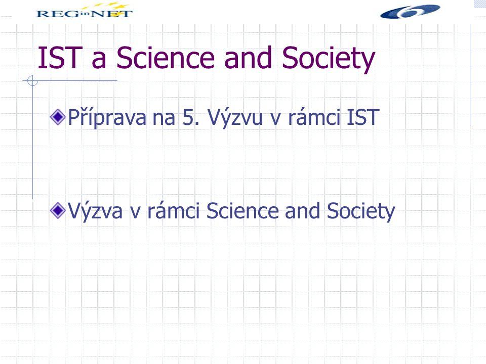 IST a Science and Society Příprava na 5. Výzvu v rámci IST Výzva v rámci Science and Society