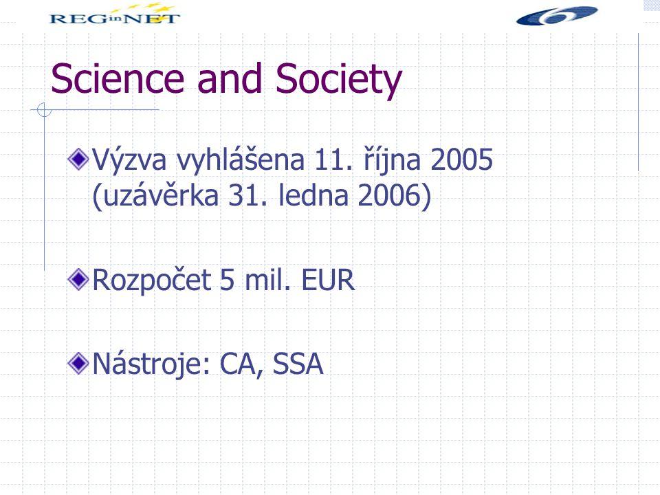 Science and Society Výzva vyhlášena 11. října 2005 (uzávěrka 31.