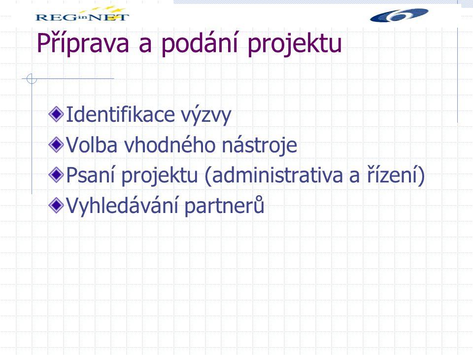 Příprava a podání projektu Identifikace výzvy Volba vhodného nástroje Psaní projektu (administrativa a řízení) Vyhledávání partnerů