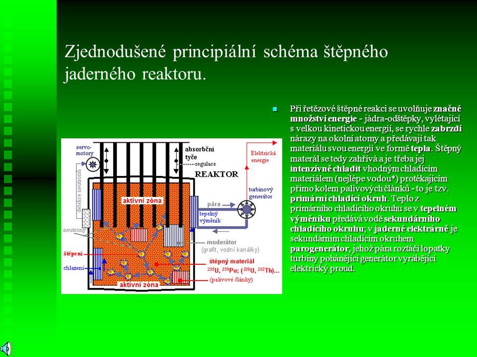 Při řetězové štěpné reakci se uvolňuje značné množství energie - jádra-odštěpky, vylétající s velkou kinetickou energií, se rychle zabrzdí nárazy na o
