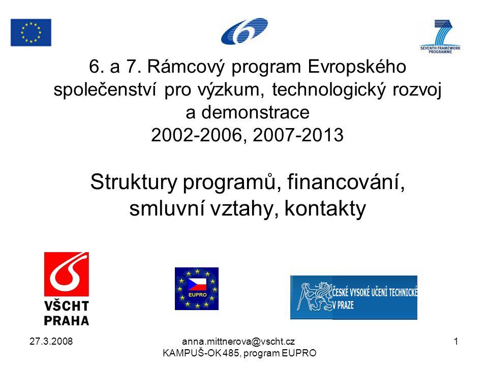 27.3.2008anna.mittnerova@vscht.cz KAMPUŠ-OK 485, program EUPRO 22 Důležité odkazy 6.RP program Společenství http://cordis.europa.eu/fp6 7.RP program Společenství http://cordis.europa.eu/fp7/home_en.html http://cordis.europa.eu/fp7/home_en.html Grantová dohoda 7.RP včetně příloh http://cordis.europa.eu/fp7/calls-grant- agreement_en.html#standard_ga http://cordis.europa.eu/fp7/calls-grant- agreement_en.html#standard_ga Právní dokumenty 7.RP http://cordis.europa.eu/fp7/find-doc_en.html http://cordis.europa.eu/fp7/find-doc_en.html Národní kontaktní bod pro 7.RP http://www.fp7.cz/ http://www.fp7.cz/ Pravidla financování projektů 7.