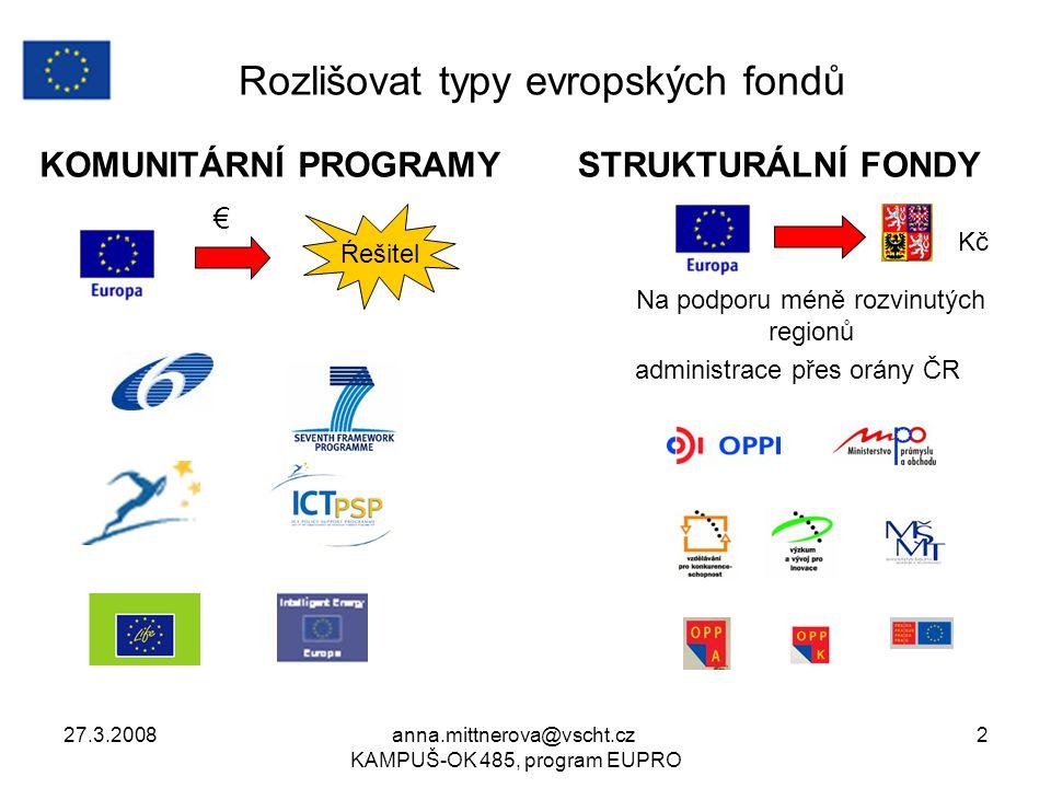 27.3.2008anna.mittnerova@vscht.cz KAMPUŠ-OK 485, program EUPRO 2 Rozlišovat typy evropských fondů KOMUNITÁRNÍ PROGRAMYSTRUKTURÁLNÍ FONDY Na podporu mé