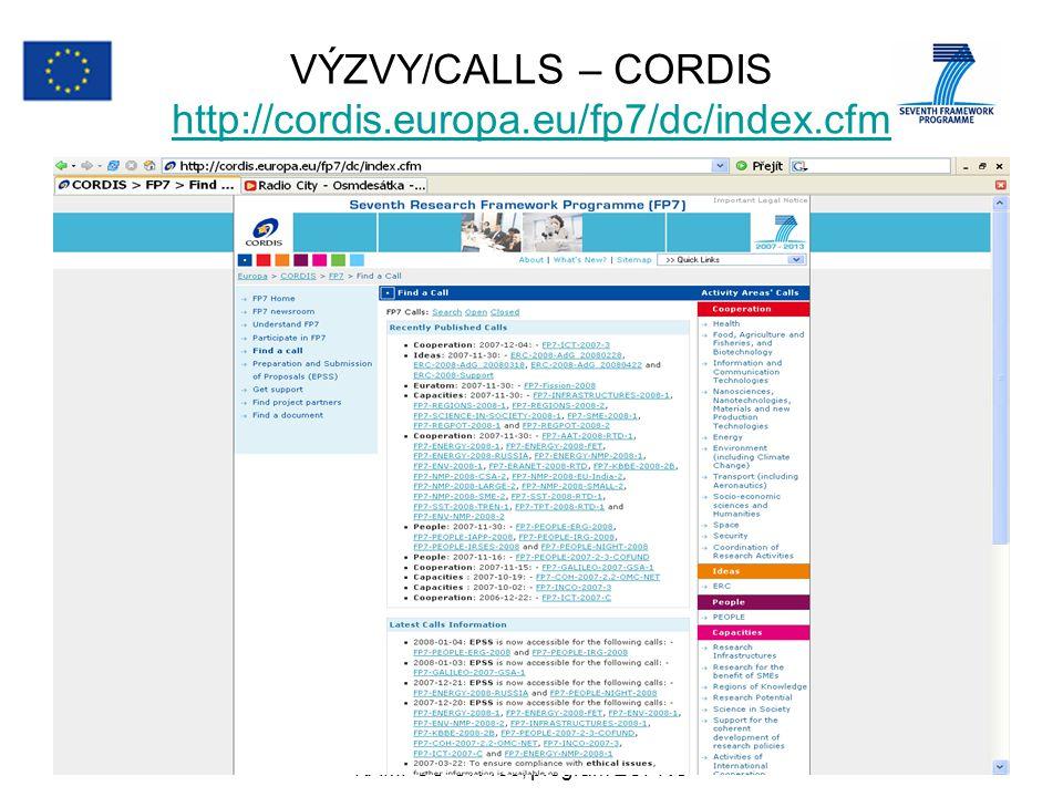 27.3.2008anna.mittnerova@vscht.cz KAMPUŠ-OK 485, program EUPRO 21 VÝZVY/CALLS – CORDIS http://cordis.europa.eu/fp7/dc/index.cfm http://cordis.europa.e