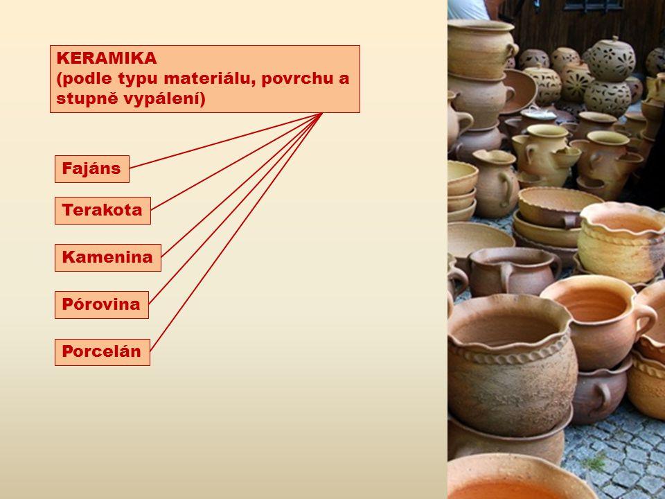 KERAMIKA (podle typu materiálu, povrchu a stupně vypálení) Fajáns Terakota Kamenina Pórovina Porcelán