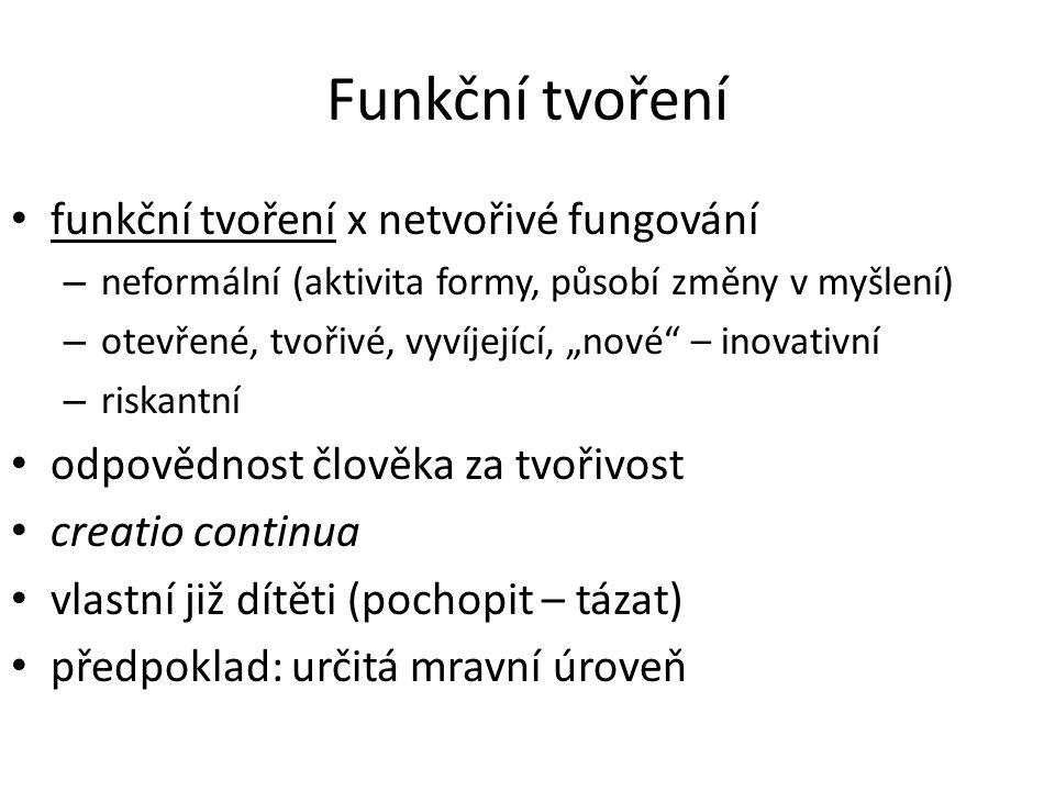 """Funkční tvoření funkční tvoření x netvořivé fungování – neformální (aktivita formy, působí změny v myšlení) – otevřené, tvořivé, vyvíjející, """"nové"""" –"""