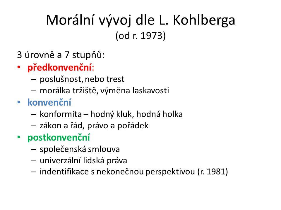 Morální vývoj dle L. Kohlberga (od r. 1973) 3 úrovně a 7 stupňů: předkonvenční: – poslušnost, nebo trest – morálka tržiště, výměna laskavosti konvenčn