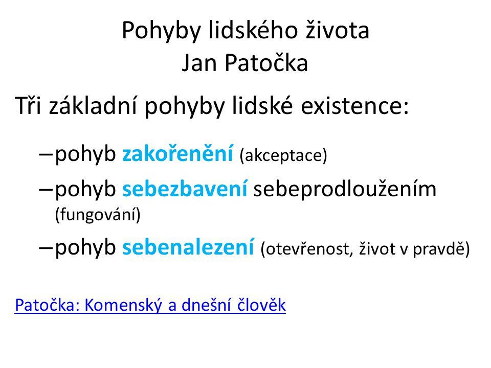Pohyby lidského života Jan Patočka Tři základní pohyby lidské existence: – pohyb zakořenění (akceptace) – pohyb sebezbavení sebeprodloužením (fungován