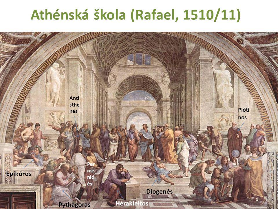 Athénská škola (Rafael, 1510/11) Anti sthe nés Epikúros Diogenés Pythagoras Hérakleitos Par me nid és Plóti nos