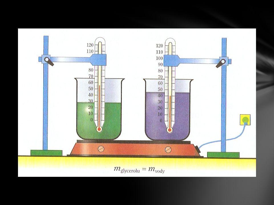 2 nádoby, v jedné glycerol a v druhé voda o stejné hmotnosti.