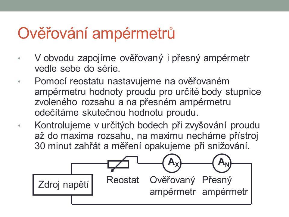 Ověřování ampérmetrů ANAN Zdroj napětí Ověřovaný ampérmetr V obvodu zapojíme ověřovaný i přesný ampérmetr vedle sebe do série. Pomocí reostatu nastavu