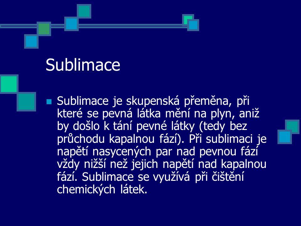 Sublimace Sublimace je skupenská přeměna, při které se pevná látka mění na plyn, aniž by došlo k tání pevné látky (tedy bez průchodu kapalnou fází). P