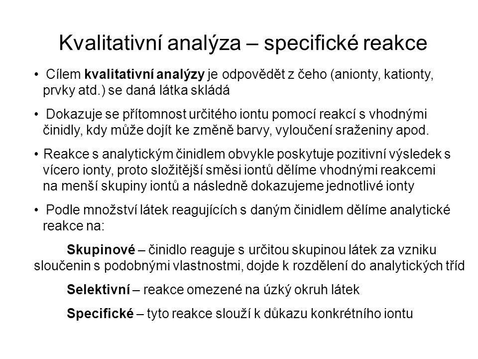 Kvalitativní analýza – specifické reakce Cílem kvalitativní analýzy je odpovědět z čeho (anionty, kationty, prvky atd.) se daná látka skládá Dokazuje