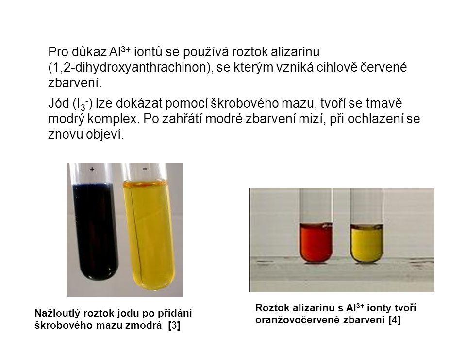 Pro důkaz Al 3+ iontů se používá roztok alizarinu (1,2-dihydroxyanthrachinon), se kterým vzniká cihlově červené zbarvení. Jód (I 3 - ) lze dokázat pom