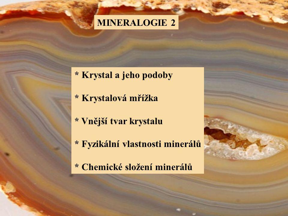 """TYPY A POUŽÍVÁNÍ TERMÍNU """"KRYSTAL KRYSTAL – používáme u minerálů, který je ohraničen rovnými plochami, hranami a rohy."""