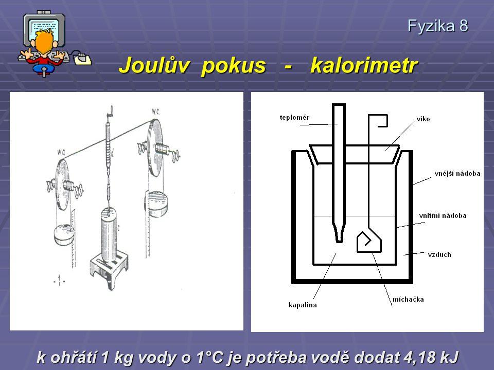 Fyzika 8 Joulův pokus - kalorimetr Joulův pokus - kalorimetr k ohřátí 1 kg vody o 1°C je potřeba vodě dodat 4,18 kJ