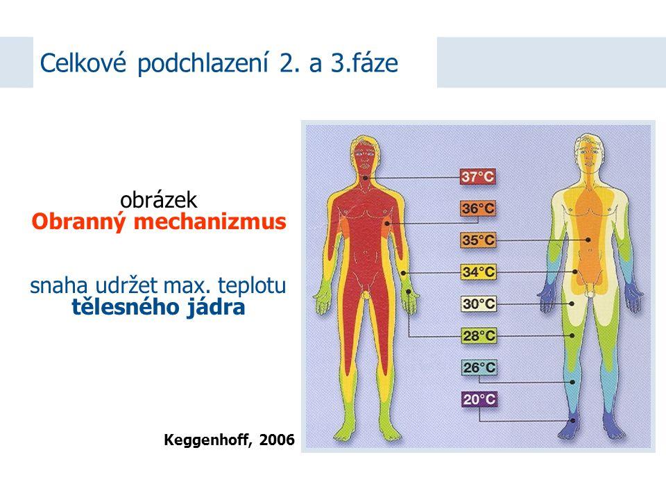 Celkové podchlazení 2. a 3.fáze Keggenhoff, 2006 obrázek Obranný mechanizmus snaha udržet max.