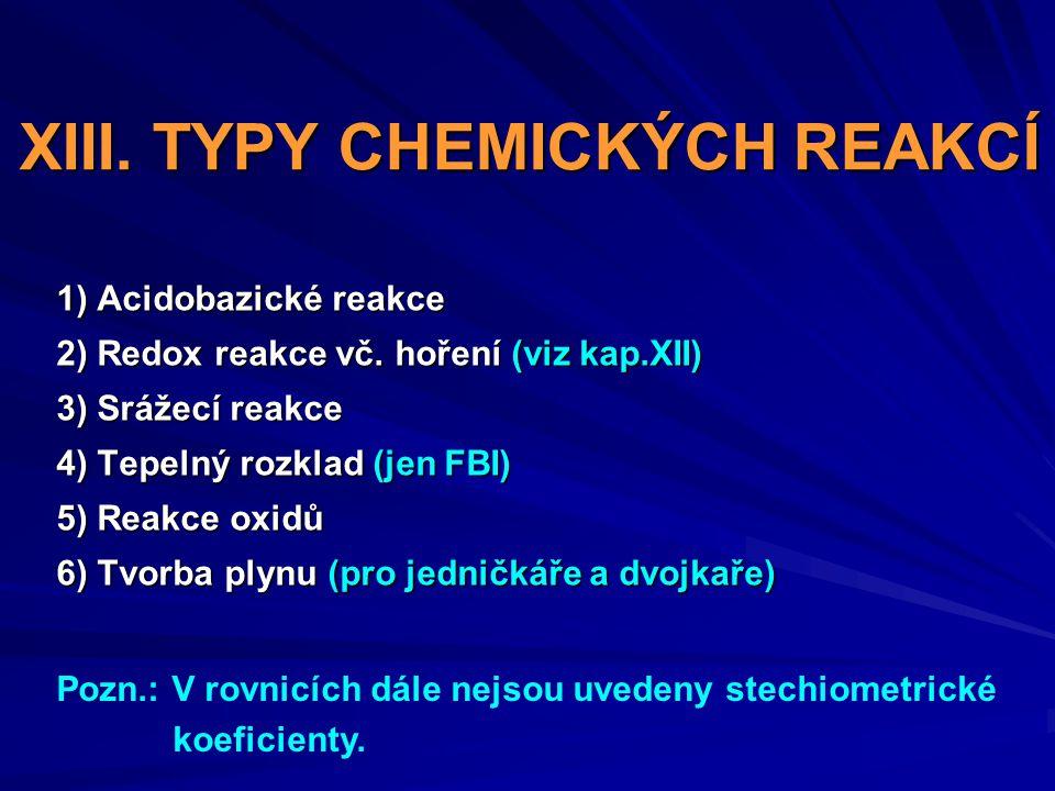 XIII. TYPY CHEMICKÝCH REAKCÍ 1) Acidobazické reakce 2) Redox reakce vč. hoření (viz kap.XII) 3) Srážecí reakce 4) Tepelný rozklad (jen FBI) 5) Reakce