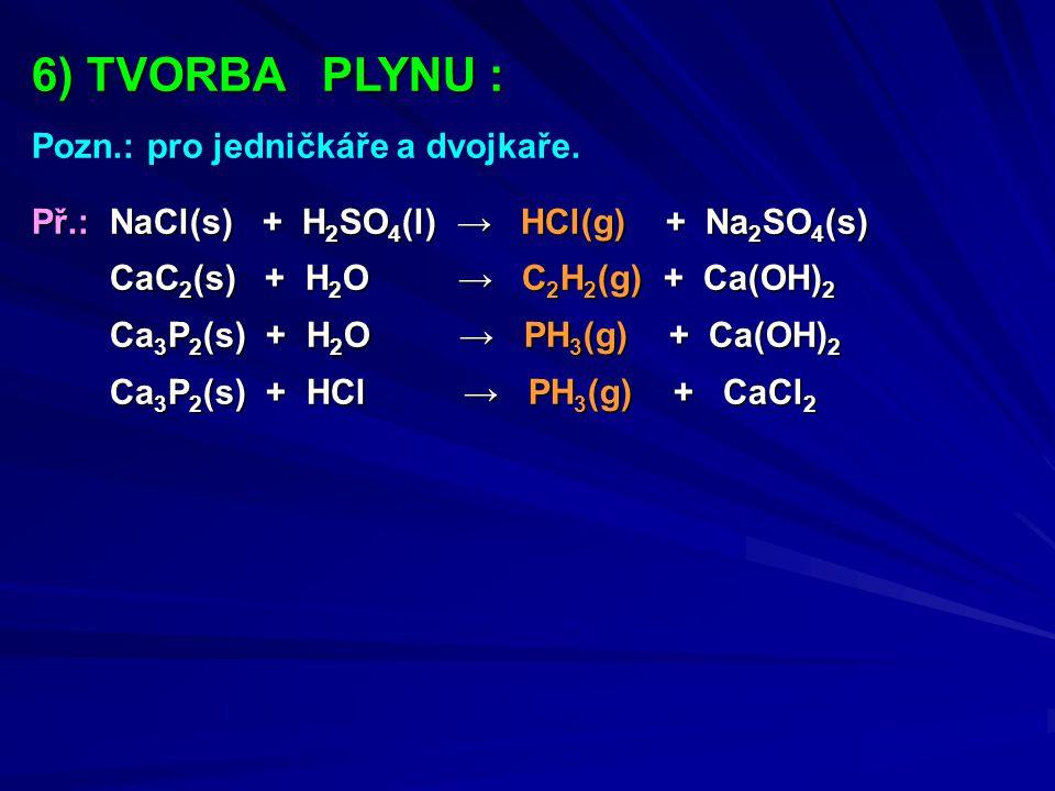 6) TVORBA PLYNU : Pozn.: pro jedničkáře a dvojkaře. Př.: NaCl(s) + H 2 SO 4 (l) → HCl(g) + Na 2 SO 4 (s) CaC 2 (s) + H 2 O → C 2 H 2 (g) + Ca(OH) 2 Ca