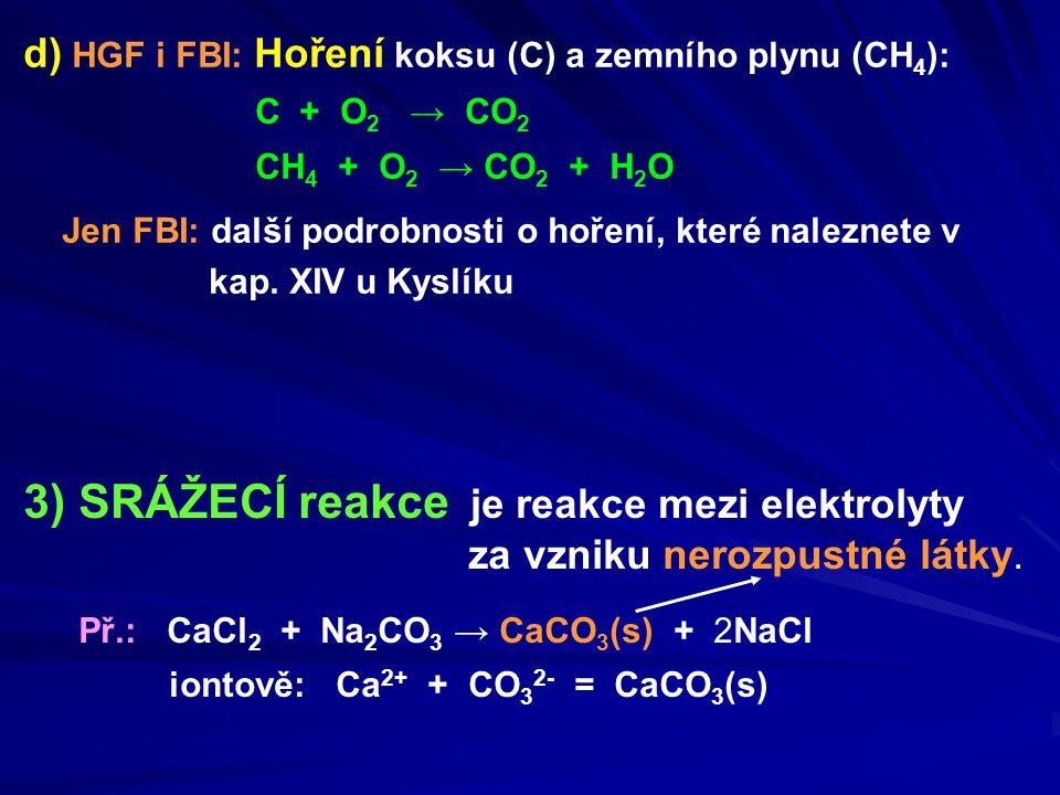 d) HGF i FBI: Hoření koksu (C) a zemního plynu (CH 4 ): C + O 2 → CO 2 CH 4 + O 2 → CO 2 + H 2 O Jen FBI: další podrobnosti o hoření, které naleznete