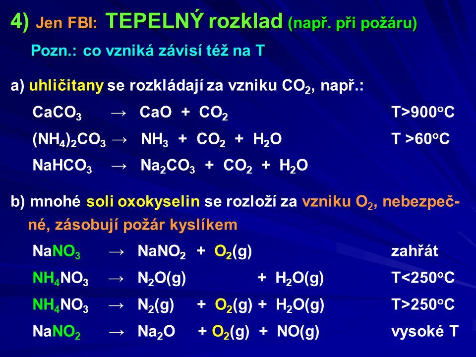 4) Jen FBI: TEPELNÝ rozklad (např. při požáru) Pozn.: co vzniká závisí též na T Pozn.: co vzniká závisí též na T a) uhličitany se rozkládají za vzniku