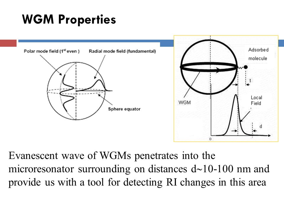 WGM Sensors - Principle Refractive-index changes in the resonator surrounding (surface) cause a shift of resonance peaks and their broadening (decrease of Q)