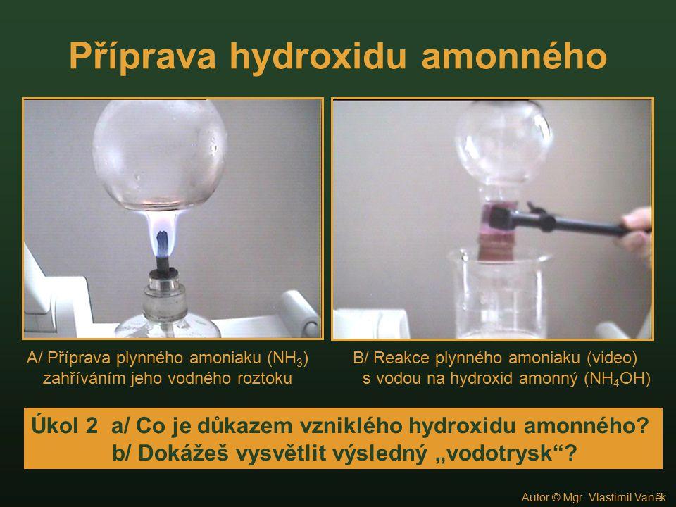 Příprava hydroxidu amonného A/ Příprava plynného amoniaku (NH 3 ) zahříváním jeho vodného roztoku B/ Reakce plynného amoniaku (video) s vodou na hydro