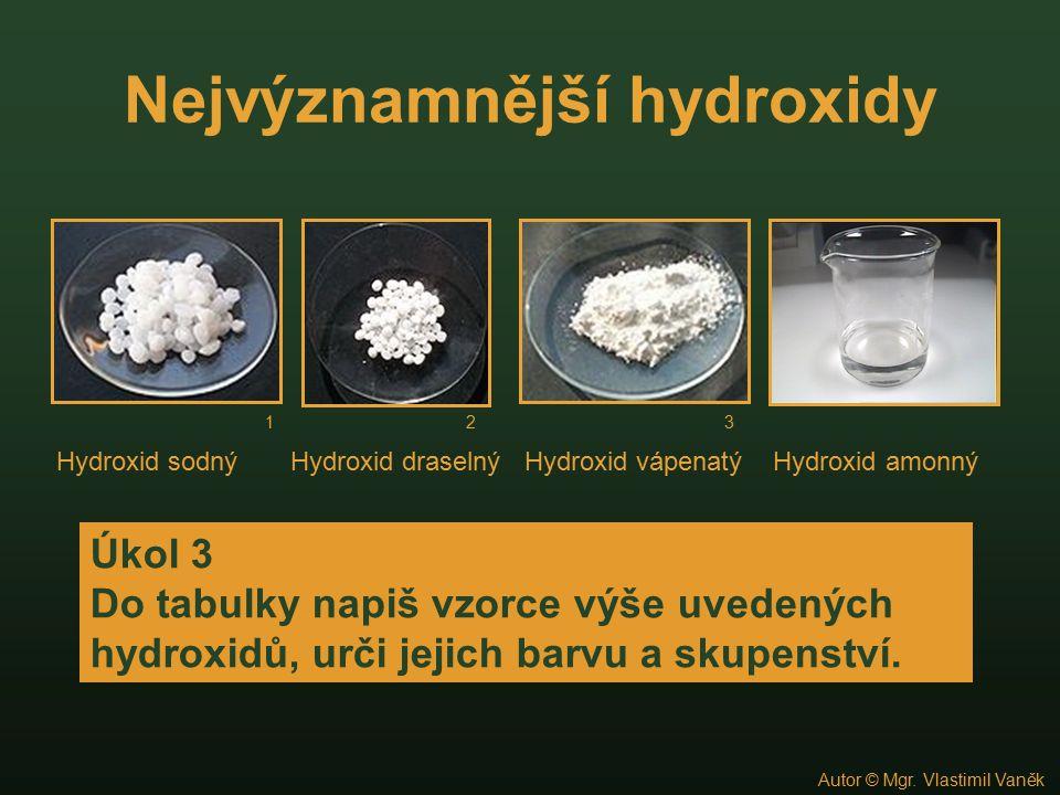 Kontrola úkolu 3 HydroxidVzorecBarvaSkupenství sodnýNaOHbílápevné draselnýKOHbílápevné vápenatýCa(OH) 2 bílápevné amonnýNH 4 OHbezbarvýkapalné