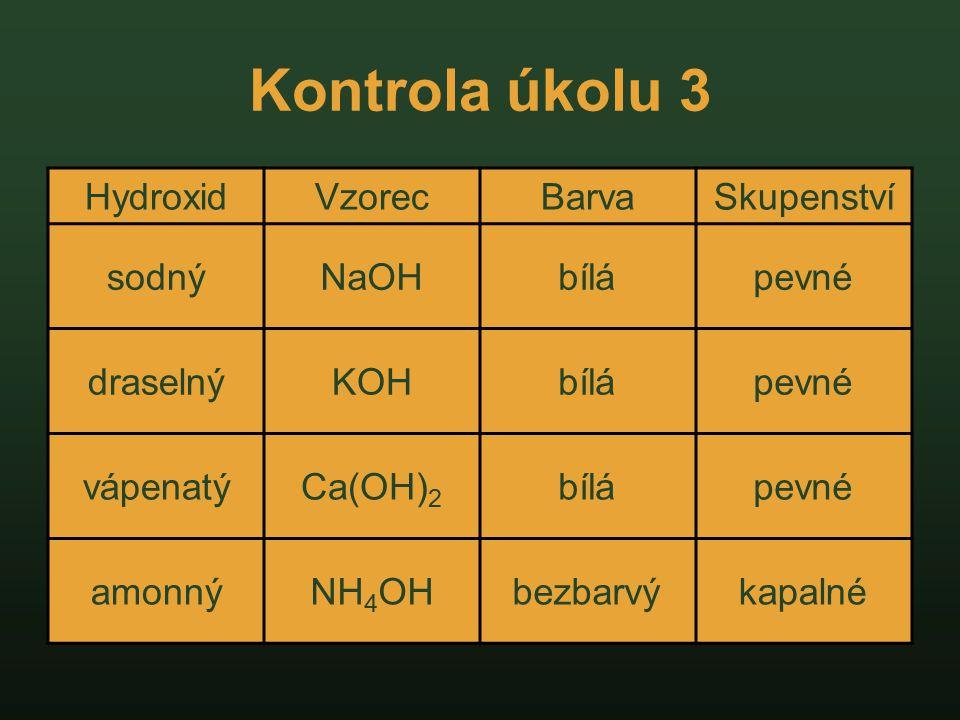 Vlastnosti hydroxidů Hydroxid sodný Vzorec:NaOH Symboly nebezpečnosti: C R-věty: R 35 Způsobuje těžké poleptání.
