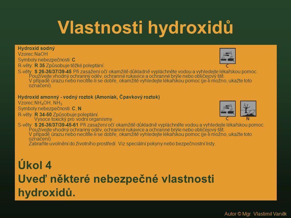 Kontrola úkolu 9 Hydroxid sodný, který má vzorec NaOH, připravíme elektrolýzou roztoku kuchyňské soli nebo reakcí sodíku s vodou.