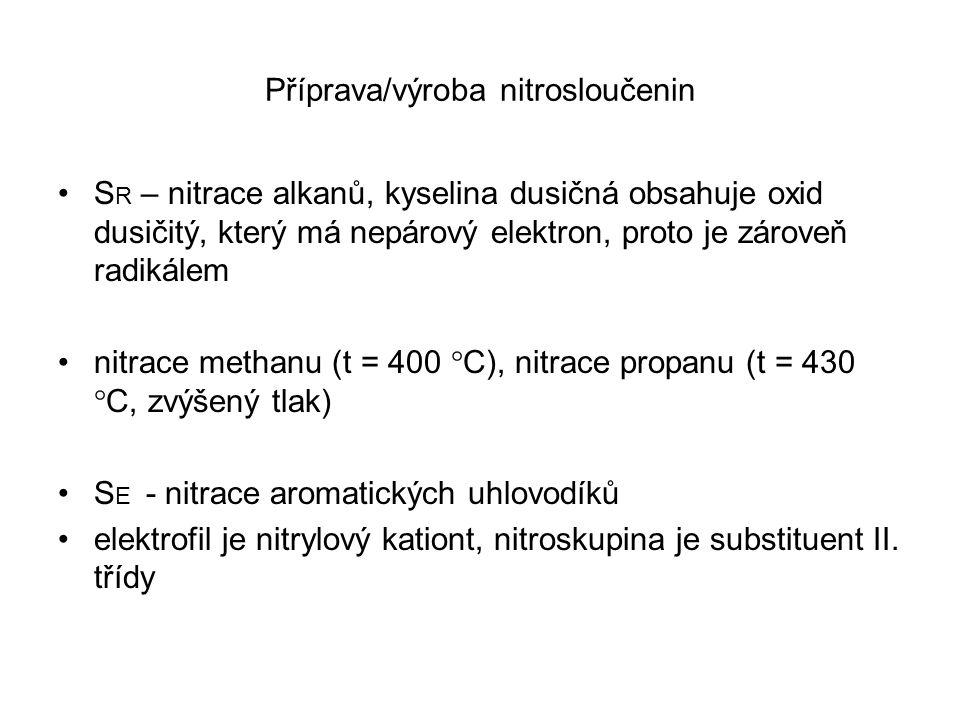Příprava/výroba nitrosloučenin S R – nitrace alkanů, kyselina dusičná obsahuje oxid dusičitý, který má nepárový elektron, proto je zároveň radikálem n